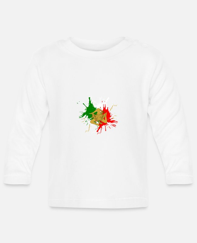 Design Baby Long-Sleeved Shirts - Sicily Trinacria - Baby Longsleeve Shirt white