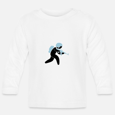Language A soldier running with his assault rifle - Baby Longsleeve Shirt