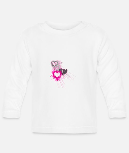 Christmas Baby Long-Sleeved Shirts - Skiing woman heart pink - Baby Longsleeve Shirt white