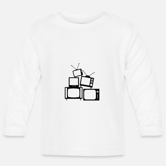 Tv Baby Clothes - TV Tower - Baby Longsleeve Shirt white