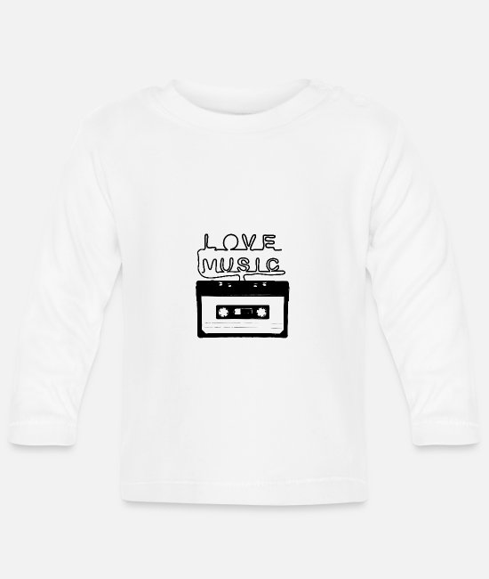 Love With Heart Baby Long-Sleeved Shirts - Love Music - Love You - Love my Music - Baby Longsleeve Shirt white