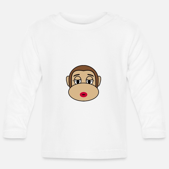 Monkey Baby Clothes - Monkey collection - Baby Longsleeve Shirt white