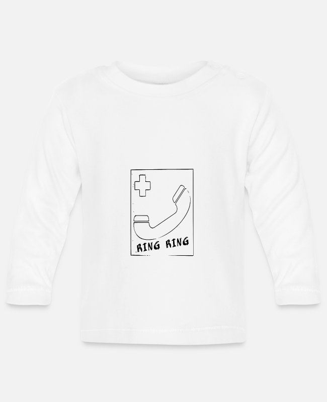 Drawing Baby Long-Sleeved Shirts - Phone ring ring - Baby Longsleeve Shirt white