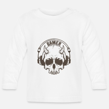 Mouse Gamer skull with horns and headset - Baby Longsleeve Shirt