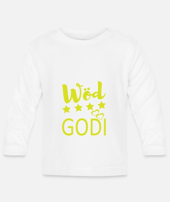 Mountains Baby Long-Sleeved Shirts - Wöd Godi gift Austria leather pants - Baby Longsleeve Shirt white