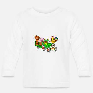 Animal For children: farm animals with tractor - Baby Longsleeve Shirt