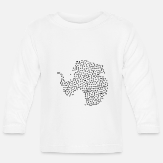 Hanover Baby Clothes - Snowflakes word cloud in map of Antarctica Fo - Baby Longsleeve Shirt white