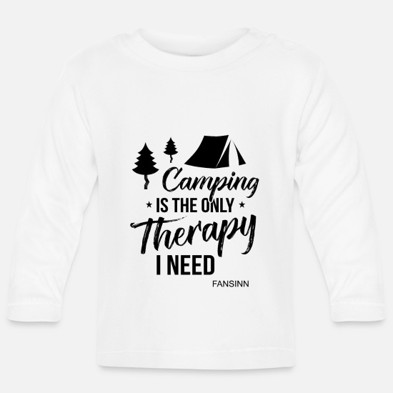 Tent Baby Clothes - Camping holiday tents recreation gift - Baby Longsleeve Shirt white