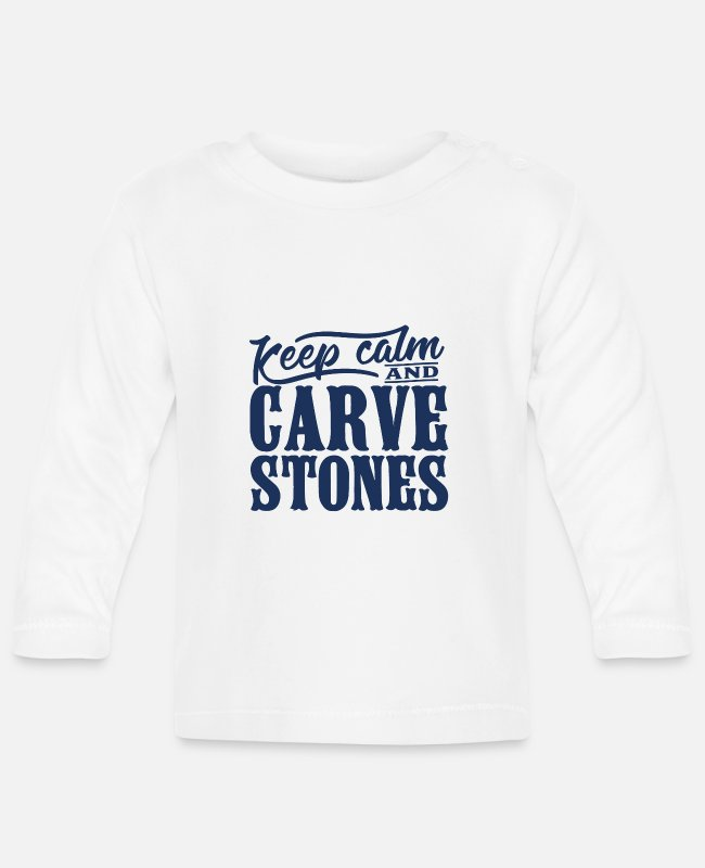 Occupation Baby Long-Sleeved Shirts - Sculptor profession stonecutter stone carving stone - Baby Longsleeve Shirt white