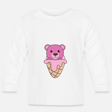 Pink Bear pink ice cream waffle cute animals for kids - Baby Longsleeve Shirt