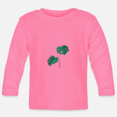 Minimum Monstera, Lineart, plant, Pflanze, Leaf, Minimal - Baby Longsleeve Shirt