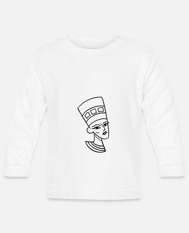 Venerated Baby Long-Sleeved Shirts - Nefertiti chief consort of the king Akhenaten bust - Baby Longsleeve Shirt white