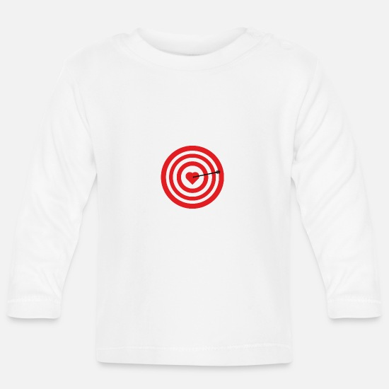 Love Baby Clothes - Target with heart - Baby Longsleeve Shirt white