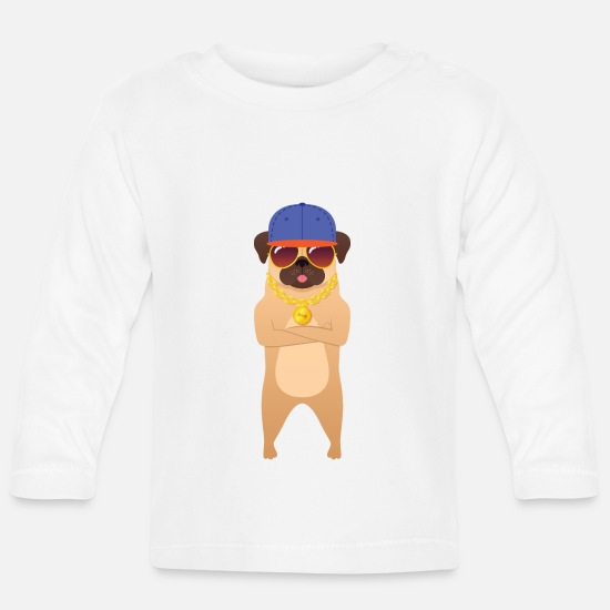 Gold Baby Clothes - Cool Hip Hop Pug With Sunglasses And Gold Chain - Baby Longsleeve Shirt white