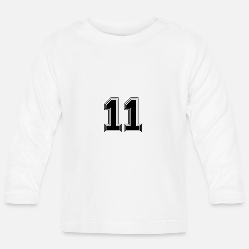 Birthday Baby Clothing - 11_number_11_(s31) - Baby Longsleeve Shirt white