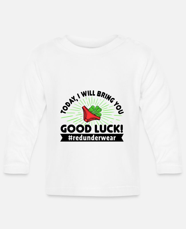 Lucky Guy Baby Long-Sleeved Shirts - New Year New Year's Eve Red underwear lucky charm - Baby Longsleeve Shirt white