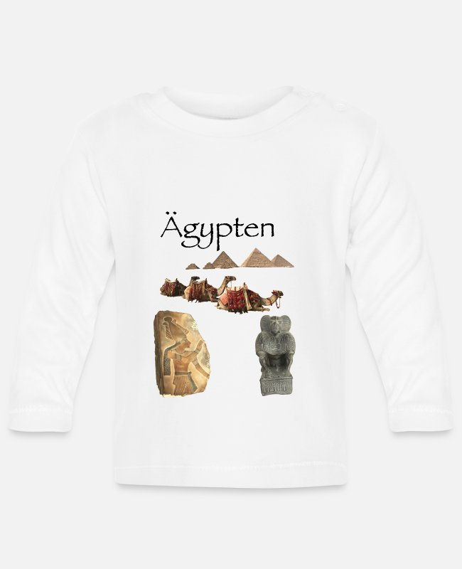 Art Baby Long-Sleeved Shirts - Egypt pyramid holiday antique camels - Baby Longsleeve Shirt white