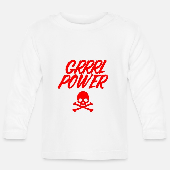 Womens Soccer Baby Clothes - Girl power - Baby Longsleeve Shirt white