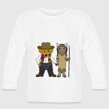 Sheriff dog and cat - Camiseta manga larga bebé