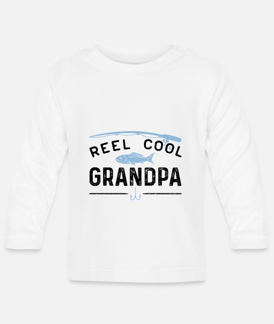 Trout Baby Long Sleeve Shirts - Reel Cool Grandpa - Fishing Grandpa - Baby Longsleeve Shirt white