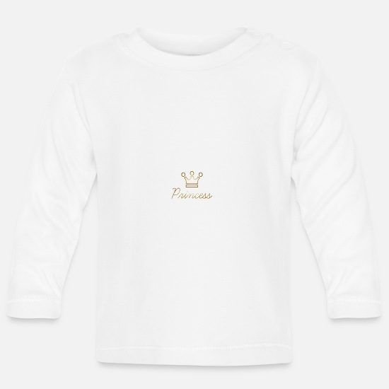 Cadeauidee  Babykleding - Princess Crown Gold Princess Kind cadeau idee - Baby longsleeve wit