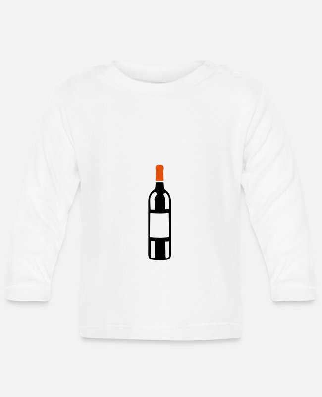 Red Baby Long-Sleeved Shirts - red wine bottle 30315 - Baby Longsleeve Shirt white