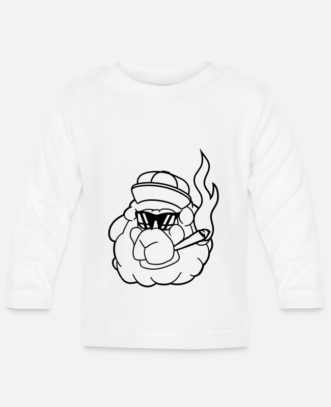 Shepherd Baby Long-Sleeved Shirts - face head smoke kitten hemp weed joint sunglasses - Baby Longsleeve Shirt white