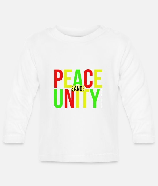 Rastafari Baby Clothes - PEACE AND UNITY - Baby Longsleeve Shirt white
