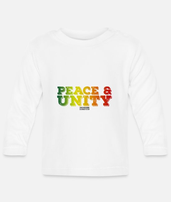 Rasta Baby Clothes - PEACE AND UNITY - Baby Longsleeve Shirt white
