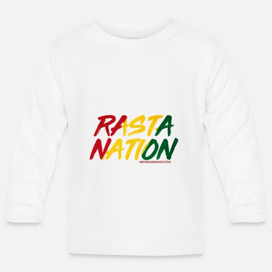 Rasta Baby Clothes - RASTA NATION - Baby Longsleeve Shirt white