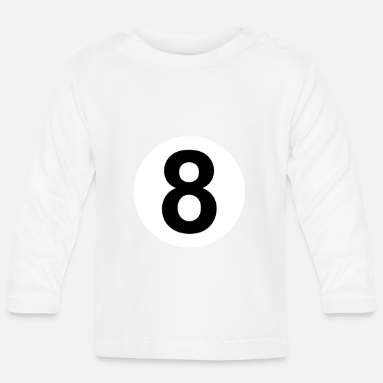 8 Ball Baby Clothes - 8 billiard ball - Baby Longsleeve Shirt white