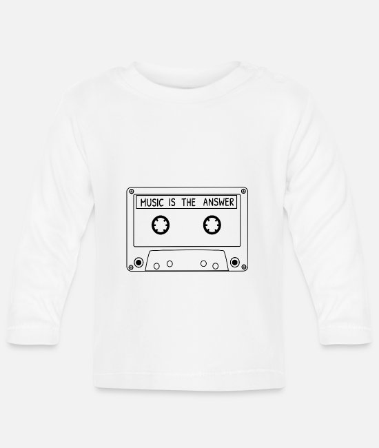 Cassette Baby Long-Sleeved Shirts - Music is the answer - Electro Edm Music - Baby Longsleeve Shirt white