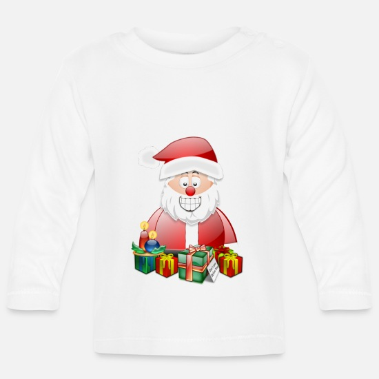 Snowman Baby Clothes - Santa 2 presents and candles - Baby Longsleeve Shirt white