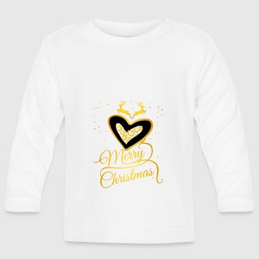gold heart Glamour Christmas Xmas Moose star - Baby Long Sleeve T-Shirt