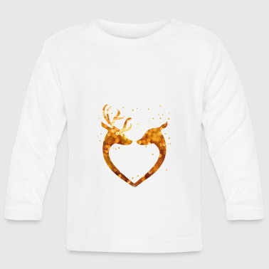 Heart Christmas Glamour Gold deer deer Love romant - Baby Long Sleeve T-Shirt