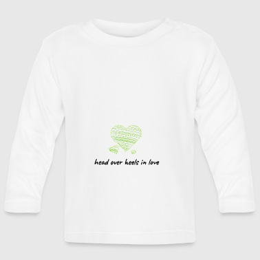 Head over heels font with hearts green - Baby Long Sleeve T-Shirt