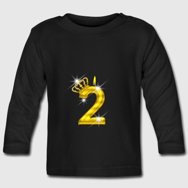 2 birthday - Crown - candle - gold - Baby Long Sleeve T-Shirt