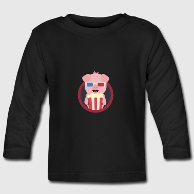 Cinema-pig with popcorn - Baby Long Sleeve T-Shirt