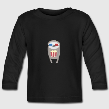 Cinema Sloth with Popcorn and Glasses - Baby Long Sleeve T-Shirt