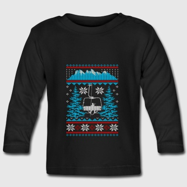 Skifahren Sessellift Ugly Christmas Sweater - Baby Langarmshirt