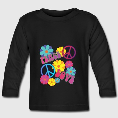 love peace hippie flower power - Baby Long Sleeve T-Shirt