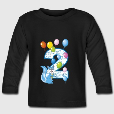 Second birthday blue squirrel 2 years - Baby Long Sleeve T-Shirt