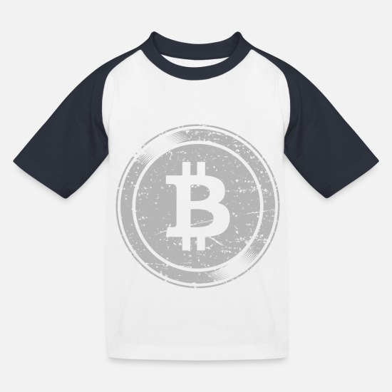 Informatik T-Shirts - Bitcoin Logo - Lustige Cryptocurrency Blockchain - Kinder Baseball T-Shirt Weiß/Navy