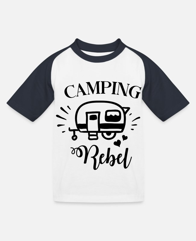 Rebellion T-Shirts - CAMPING REBEL - Kinder Baseball T-Shirt Weiß/Navy
