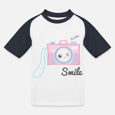 Mädchen Camera Kawaii - Kinder Baseball T-Shirt