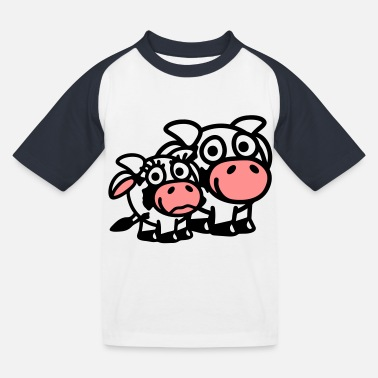 Rund cow_family_dad_and_girl_3c - Kinderen baseball T-shirt