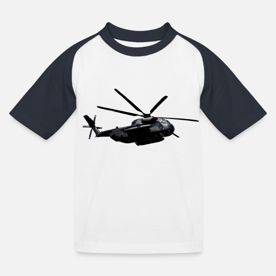 Pattern T-Shirts - Transport helicopter - Kids' Baseball T-Shirt white/navy