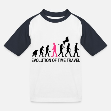 Text Evolution Time Travel 2C w. Text - Kinder Baseball T-Shirt