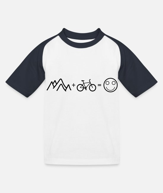 Mountainbike T-Shirts - happy mountain biking - Kinder Baseball T-Shirt Weiß/Navy