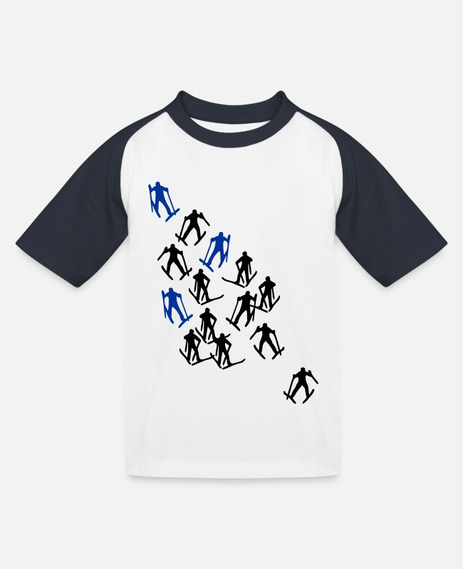Ski T-shirts - Ski Langlauf Skiläufer - Kinderen baseball T-shirt wit/navy